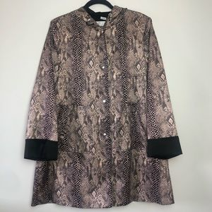 Larry Levine Snakeskin Animal Print Jacket Fall Spring Raincoat In A Pouch